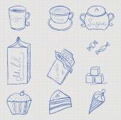 Sweet food set icon stylized ballpoint pen — Stock Vector