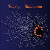 Halloween greeting card with spider silhouette — Stock Vector