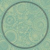Cartão com mão pintada redondo ornamento, azul — Vetor de Stock