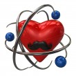 Red heart with mustaches and blue atoms — Stock Photo #64574715