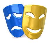 Yellow happy and sad blue masks — Stock Photo