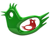 Big green bird protect red birdie — Stock Photo