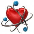 Red heart with atoms — Stock Photo #66392135