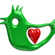 Green bird and red heart — Stock Photo #66393537