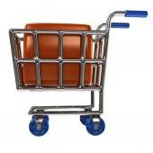 Shopping cart  with  box — Stock Photo