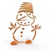 Golden snowman on white — Stock Photo