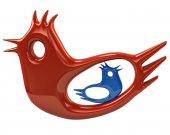 Big red bird protect blue birdie — Stock Photo