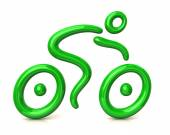 Green bicyclist riding a bicycle — Stock Photo