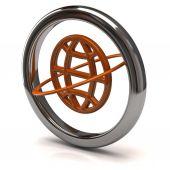 Globe icon in silver ring — Stock Photo