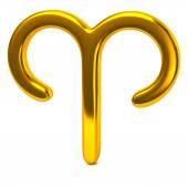 Golden aries zodiac sign — Stock Photo