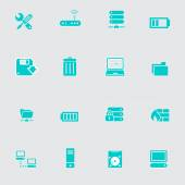 Computer network icons set — Stock Vector