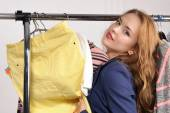 Woman in formal wear excited buying things — Stock Photo