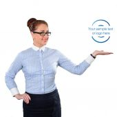 Business woman showing copy space up. Young stylish business wom — Stock Photo