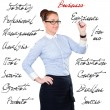 Young beautiful businesswoman with pen writing whiteboard — Stockfoto #59714271