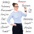 Young beautiful businesswoman with pen writing whiteboard — Stock Photo #59714271