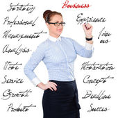 Young beautiful businesswoman with pen writing whiteboard — Stockfoto