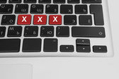 Online porn concept. xxx buttons on the computer keyboard — Stock Photo