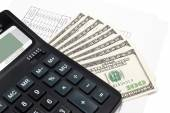 Calculator and money. Background image for finance and banking — Zdjęcie stockowe