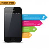 Infographic with a touch screen smartphone — Vector de stock