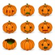 Halloween pumkins vector orange icons set — Stock Vector #52289875