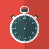 Stopwatch in flat design on red backfround — Stock Vector