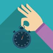 Chronomètre en main au design plat sur le fond — Vecteur