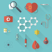 Pharma and Healthcare icons in flat design — Vettoriale Stock