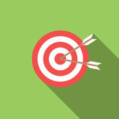 Icon target with arrows in flat design — Stock Vector