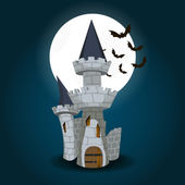 Illustration of Halloween Castle with moon and bat — Stock Vector