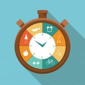 Illustration of sport regime stopwatch in flat designed — Stock Vector