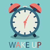 Illustration of alarm clock in flat design with text — 图库矢量图片