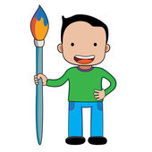A boy with giant paintbrush. — Vector de stock