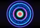 Technology abstract background circle light blue effect — Vector de stock