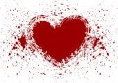 Heart splatter blood isolate — Stock Vector