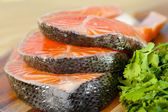 Delicious  portion of fresh salmon fillet with parsley — Stock Photo