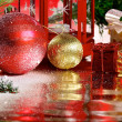 Christmas balls with ribbon on abstract background — Stock Photo #58720963