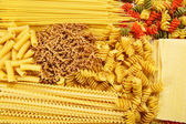 Different types and shapes of Italian pasta — Stock Photo