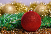 Christmas balls with yellow tinsel — Stock Photo