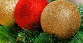 Christmas balls on green fir-tree branches — Stock Photo