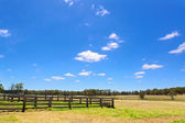 Australian rural field landscape with haystacks and blue sky — Stock Photo
