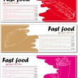 Fast food menu cards with hot dog, taco and french fries — Stock Vector #51816593
