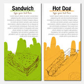 Banners of fast food design with hot dog and sandwich — Stock Vector