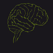 Brain in green side view — Stock Vector