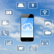Smart phone application technology and clouds blue sky backgroun — Stock Photo #65123085