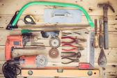 Old household equipment group set on grain wood — Stock Photo