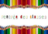 Pencils color back to shool (in french) — Stock Photo