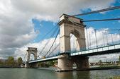 Suspension bridge in Alfortville — Stock Photo