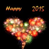 Fireworks heart Happy 2015 — Stock Photo