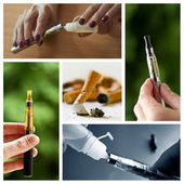Stop cigarette with e-cigarette collage — Stock Photo
