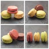 Surtido de macarons franceses collage — Foto de Stock